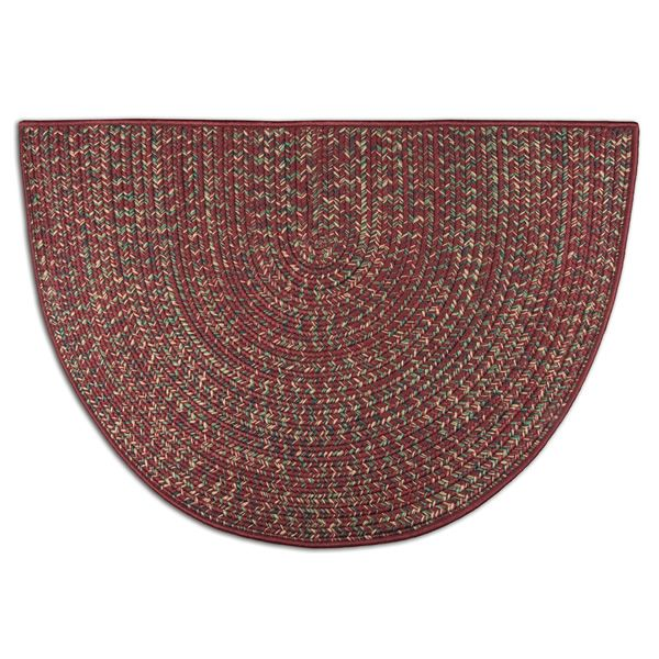 Red Multi-Colored Braided Fireplace Hearth Rug - 4' image number 0