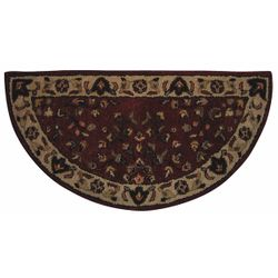 Red with Beige Hand Tufted Fireplace Hearth Rug