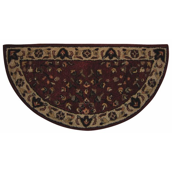 Red with Beige Hand Tufted Hearth Rug image number 0
