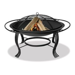 """Uniflame 34"""" Wood Burning Fire Pit with Black Outer Ring"""