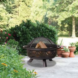 """Uniflame 30"""" Wood Burning Fire Pit with Geometric Cutouts"""