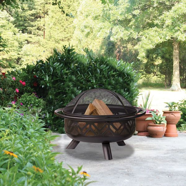 "Wood Burning Fire Pit with Geometric Cutouts - 30"" image number 0"
