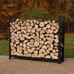 Woodhaven Black Outdoor Firewood Rack - 4' - No Cover