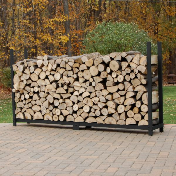 Woodhaven Black Outdoor Firewood Rack - 8' - No Cover image number 0