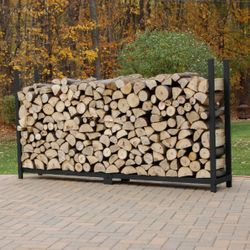 Woodhaven Black Outdoor Firewood Rack - 8' - No Cover