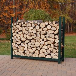 Woodhaven Green Outdoor Firewood Rack - 4' - No Cover