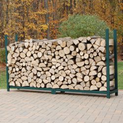 Woodhaven Green Outdoor Firewood Rack - 8' - No Cover