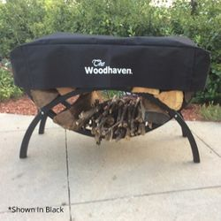 """Woodhaven 39"""" Crescent Firewood Rack Cover - Brown"""