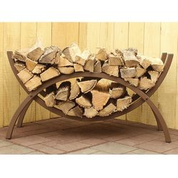 """Woodhaven 39"""" Crescent Firewood Rack - Brown"""