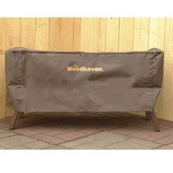 """Woodhaven 39"""" Crescent Firewood Rack Full Cover - Brown"""