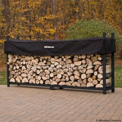Woodhaven Black Firewood Rack - 10'