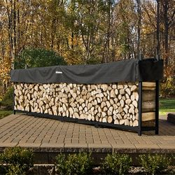 Woodhaven Black Firewood Rack - 16'
