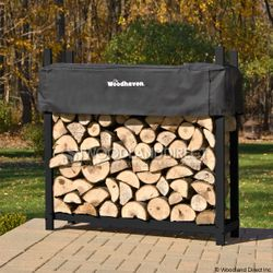 Woodhaven Black Firewood Rack - 4'