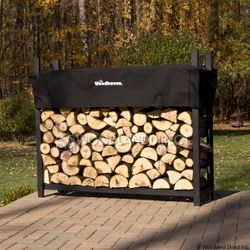 Woodhaven Black Firewood Rack - 5'