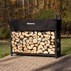Woodhaven Black Firewood Rack - 6'