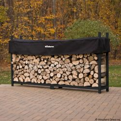 Woodhaven Black Firewood Rack - 8'
