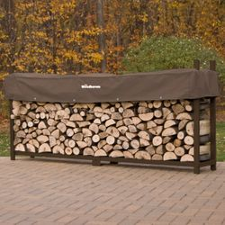 Woodhaven Brown Outdoor Firewood Rack - 10'