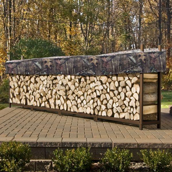 Woodhaven-Brown-Outdoor-Firewood-Rack-16'-alt-D image number 4