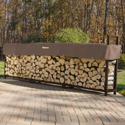 Woodhaven Brown Outdoor Firewood Rack - 16'
