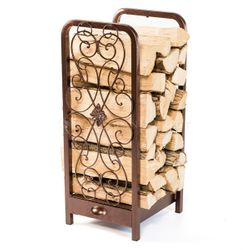 Woodhaven Fireside Rack with Drawer - Copper Vein