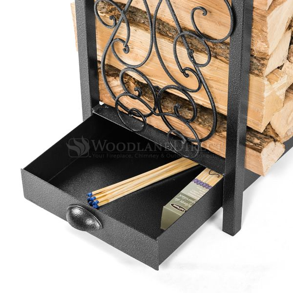 Woodhaven Fireside Rack with Drawer - Black image number 3