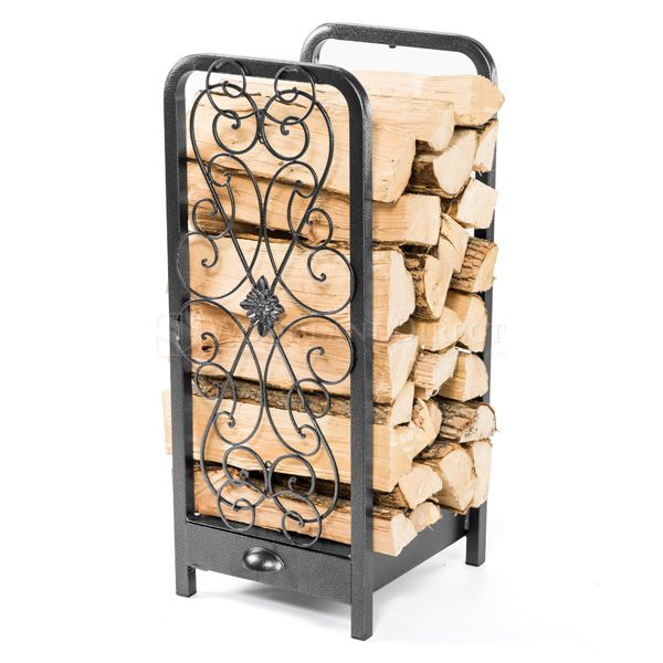 Woodhaven Fireside Rack with Drawer - Black image number 0