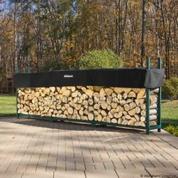 Woodhaven Green Outdoor Firewood Rack - 12'