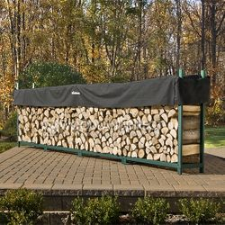 Woodhaven Green Outdoor Firewood Rack - 16'