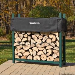 Woodhaven Green Outdoor Firewood Rack - 4'