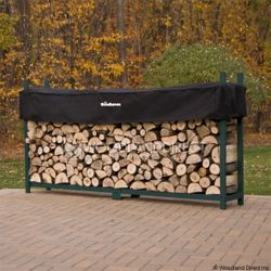 Woodhaven Green Outdoor Firewood Rack - 8'