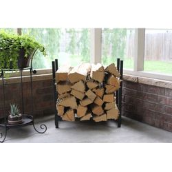 Woodhaven Black Indoor/Outdoor Firewood Rack - 2'