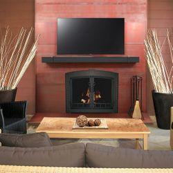 Wayland Steel Fireplace Mantel Shelf with Banding