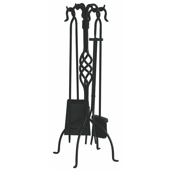 Wrought Iron Woodstove Tool Set - Black Finish image number 0