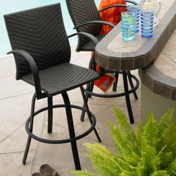 Naples All-Weather Wicker Swivel Barstools - Leather