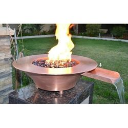 "36""x12"" Copper Fire & Water Bowl w/Electronic Ignition - NG"