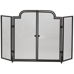 Three-Fold Arched Black Wrought Iron Door Fireplace Screen