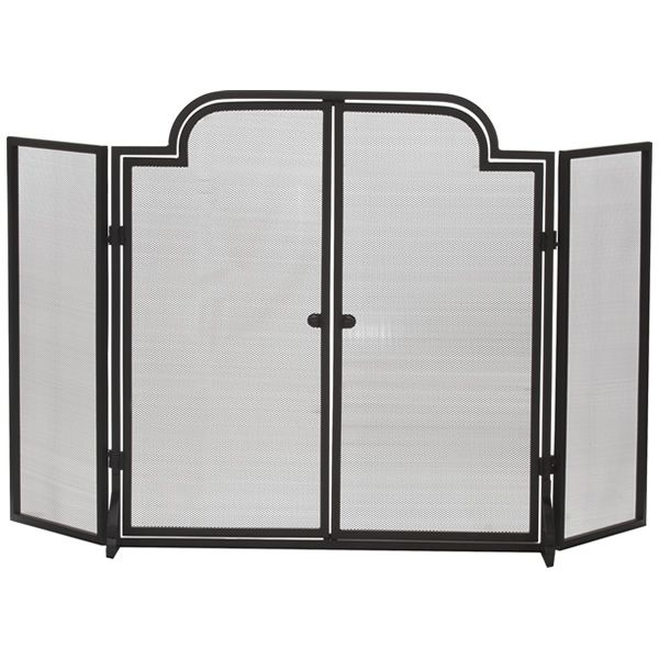 """Three-Fold Arched Black Wrought Iron Door Fireplace Screen - 55"""" x 32"""" image number 0"""