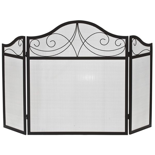 "Three-Fold Arched Black Wrought Iron Fireplace Screen - 52"" x 30"" image number 0"