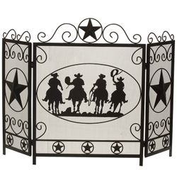 Three-Fold Cowboy Fireplace Screen