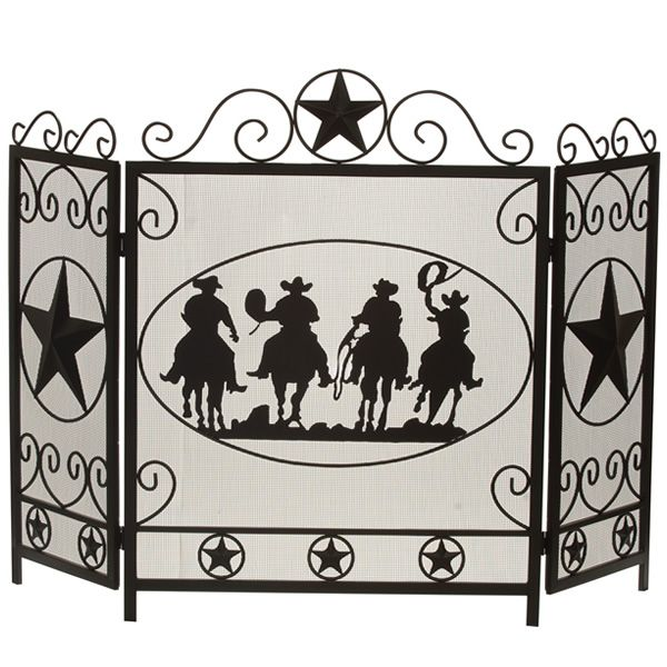 "Three-Fold Cowboy Fireplace Screen - 50 3/4"" x 34 3/4"" image number 0"