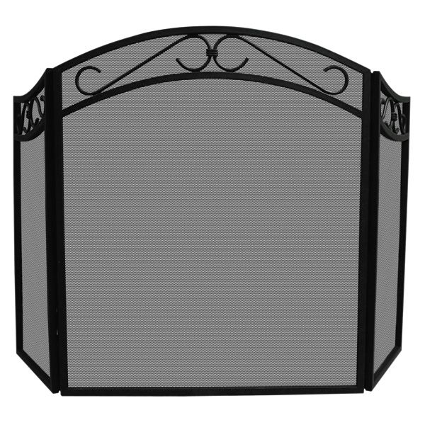 """Black Three Fold Decorative Scrolls Screen with Arch Top - 52"""" x 31"""" image number 0"""