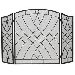 Three-Fold Weave Black Wrought Iron Fireplace Screen