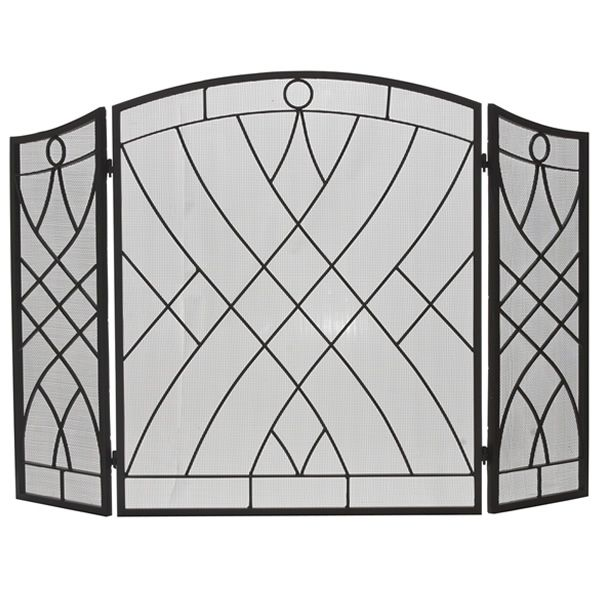 """Three-Fold Weave Black Wrought Iron Fireplace Screen - 51 1/2"""" x 34"""" image number 0"""