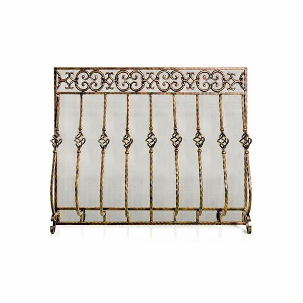 Tuscany Cast Iron Fireplace Screen with Mesh image number 0