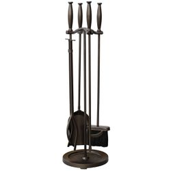 Uniflame 4 Piece Bronze Fireset with Cylinder Handles