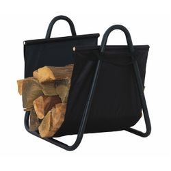 Indoor Firewood Rack with Heavy Canvas Carrier - Black