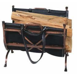 Indoor Firewood Rack with Leather Carrier - Antique Copper
