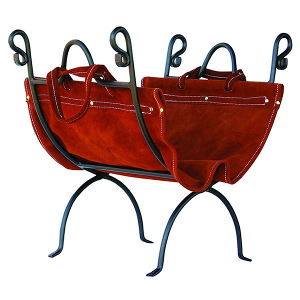 Uniflame Olde World Iron Indoor Firewood Rack with Leather Carrier image number 0