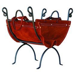 Olde World Iron Indoor Firewood Rack with Leather Carrier