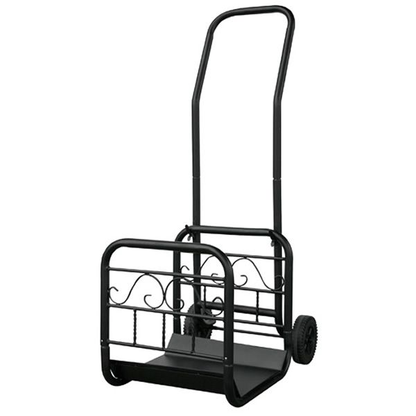 Uniflame Large Log Rack with Wheels and Removable Cart - Black image number 0